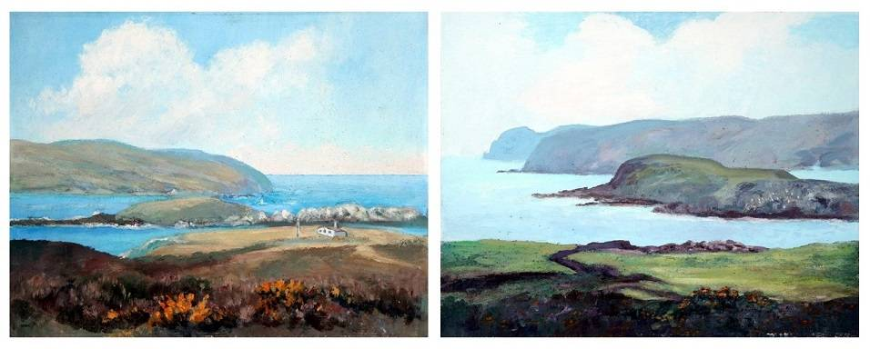Two coastal paintings side by side featuring coastal paths, cliffs and the sea.