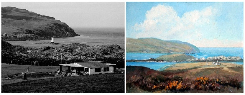 A black and white photograph on the right of the Sound Cafe compared to the painting The Sound depicting the prickly gorse coastal landscape by Knight.
