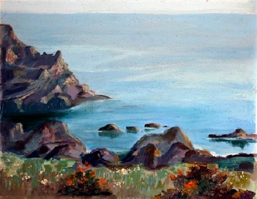 Oil painting depicting a coastal scene with an out crop of black rocks in the foreground and to the left a black cliff, leading to a blue bay where sea and sky meet.