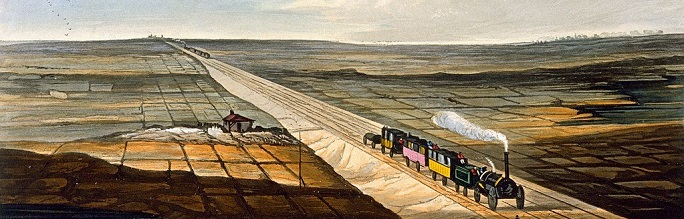 A railway line runs diagonally across the image from top left to bottom right, and a steam locomotive pulling three coaches heads to the bottom right. Another steam train can be seen in the far distance. A patchwork of flat fields lie either side of the track. This is a section of the second image down