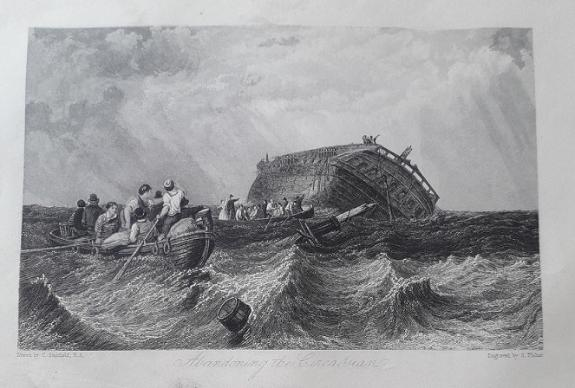 Abandoning the Circassian book illustration from 'The Pirate' (engraving by S. Fisher after the painting by Clarkson Stanfield)