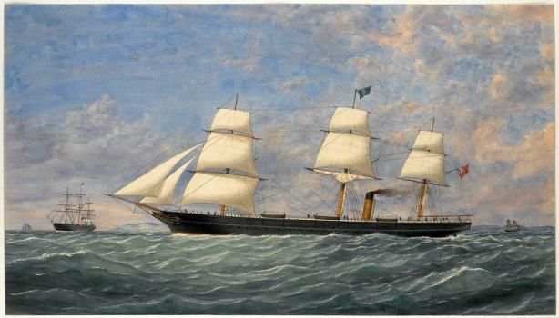 The Steam Ship Circassian, 1856 by unknown artist (watercolour) (© National Maritime Museum, Greenwich). Believed to be the 'real' Circassian.