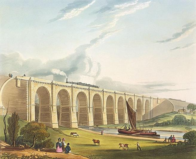 A great viaduct spans the picture with nine arches rising over a river to the right. A boat with a brown sail heads towards the viaduct, while a steam train passes along the top. In the foreground there are two women and a child in Victorian dress. They look over a field which runs down to the riverbank, where cattle being driven by a farmworker