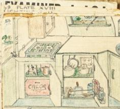Detailed drawing of a gas powered stove in the