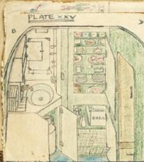hand drawn larder in the dream caravan drawn in pencil and coloured pencil contains bread, cakes, sandwiches and many provisions for making a meal