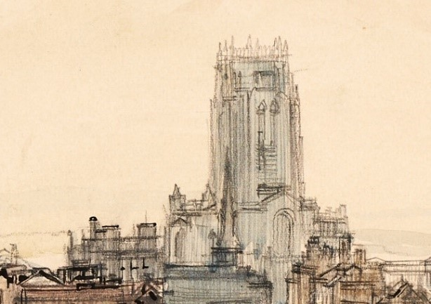 An architectural watercolour of the Anglican Cathedral
