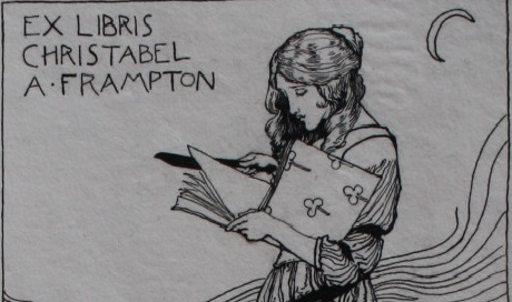 Anning Bell bookplate detail ink drawing of a girl reading a book