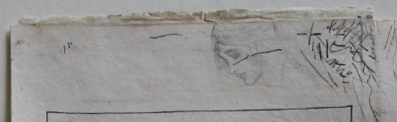 Profile of a young girls face sketched lightly at the top of the bookplate.