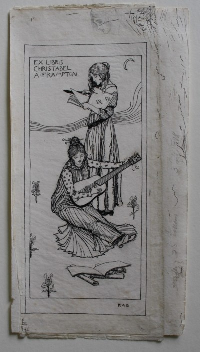 The full image of the bookplate showing one girl stood reading and another sat reading music whilst playing a guitar like instrument.