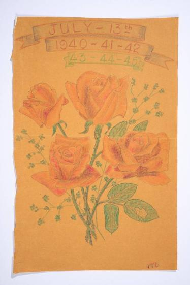 An anniversary 'card' drawn on a small piece of coloured paper depicting four red roses and stems, including some gypsophila spray. At the top are the dates 13th July 1940-1941-1942-1943-1944-1945.