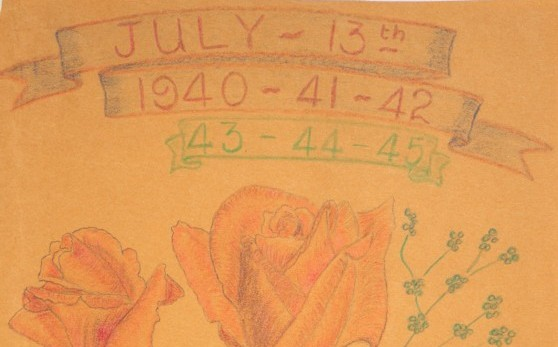 Detail of the years marked off hand written in red pencil and green pencil.