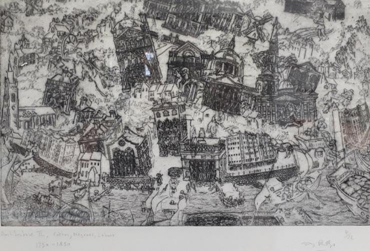 A complex composition showing historic buildings in black and white. They are all at different angles and look as though they are falling over. In between are figures carrying things and pulling loaded carts. Three-quarters of the way down there is an intermittent harbour wall running across the image and beneath that is water with ships and boats on it.