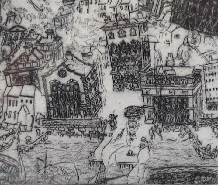 Detail of the image above showing three historic buildings, with parts of other buildings around the edge. In the three whole buildings are Black figures standing sideways to the viewer. They are enslaved people shackled together and in chains. Beneath the houses are parts of a harbour wall & beneath that is water with boats. People are in the streets carrying things or pulling loaded carts.