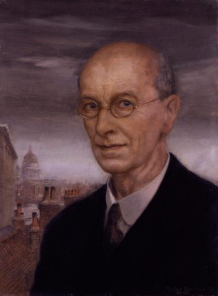 This head and shoulders portrait of Arthur Rackham show a balding man in his sixties wearing a suit, shirt, tie with gold-rimmed glasses. London buildings including St Paul's Cathedral is on the left.
