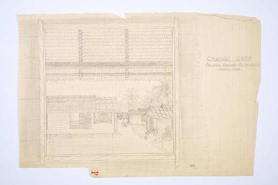 A faint pencil drawing by Maurice green of the view from his window, showing 4 basic accommodation huts in the Changi POW camp, Singapore March 1942.