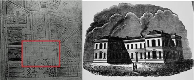Although faded, this plan on the left shows the asylum building highlighted in red, surrounded by the airing courts and gardens. The image on the right shows a sketch of the asylum.