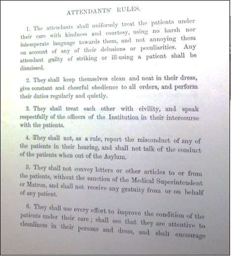 From 'Laws and rules for the government of the Liverpool Royal Infirmary, Lunatic Asylum, Lock Hospital and the Liverpool Royal Infirmary School of Medicine', 1877, Liverpool Record Office.