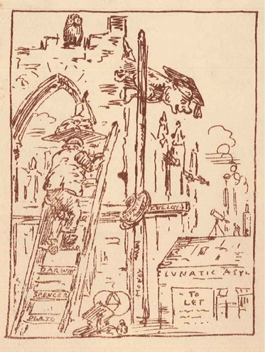 A sketch showing the construction of the Victoria Building and the old asylum building with a 'To Let' sign in the window.