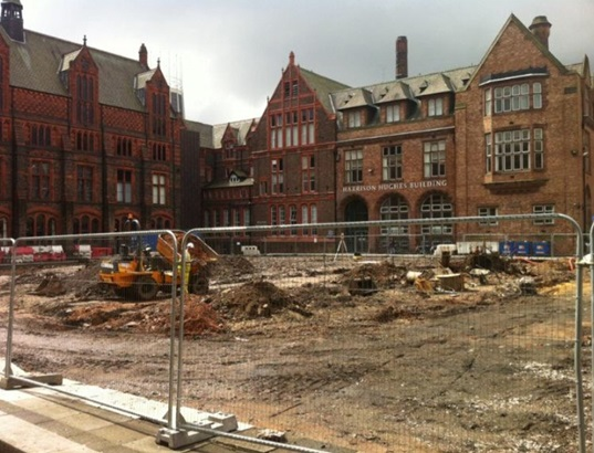 Diamond Jubilee Quadrangle construction around 2011 where evidence of the asylum foundations could be seen.