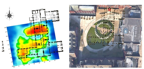Simon Lloyds 2017 geophysical survey of the area and how it fits in to the current oval design of the jubilee quadrangle.