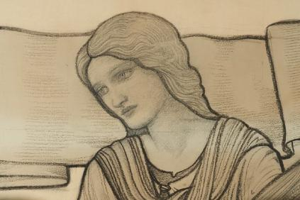 Detail of a sketch (cartoon) for a stained glass window of a young woman's face.
