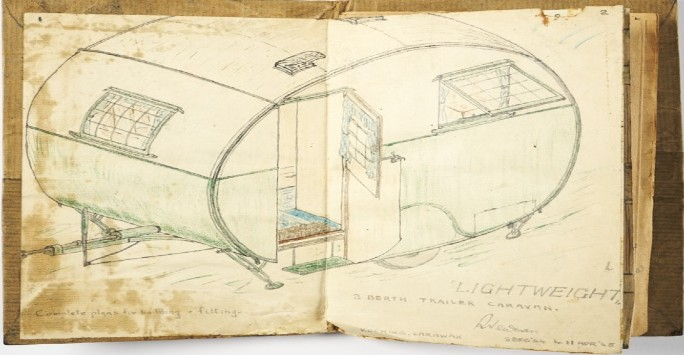 Plans for a Dream Caravan, 1944. By Capt. Reginald 'Reg' Newman, 48 LAA (49 Bty), RA Loaned by Janet Fursier (neé Newman, artist's daughter)