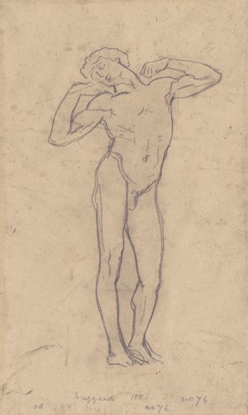 Tracing for The Sluggard by Frederic Leighton, 1886 (pencil on tracing paper). © and permission of the Royal Academy of Arts