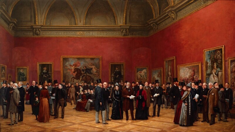 Henry Jamyn Brooks: Private View of the Old Masters Exhibition at the Royal Academy, 1888. [oil on canvas] © National Portrait Gallery, London. Leighton is the central bearded figure in the brown coat.