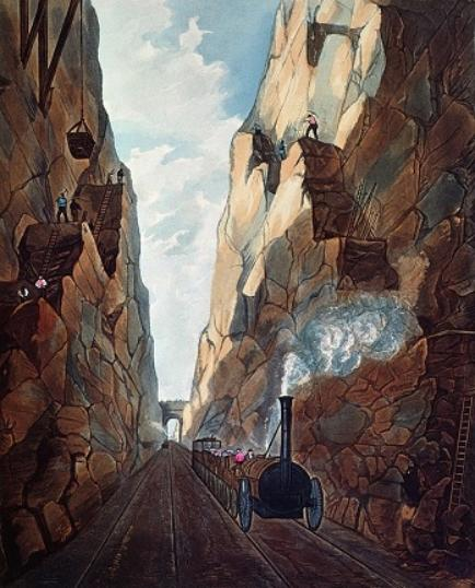 The artist has composed the scene so it seems that the viewer is standing on the tracks in a deep gorge as a steam locomotive puffs towards them. Steep rock-faces rise up on either side. There are tiny figures of work-men standing up and down the rock-faces to cut and shape them, while a network of ladders, hoists and buckets facilitate their toil.