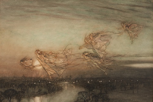 Ten fairies fly towards the left in a line as night-time falls. Below them is a river and city lights are in the horizon.