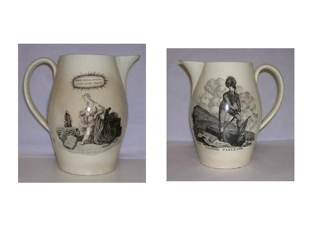 Front and back view of a commemorative cream glaze, earthenware jug with black transfer print of a Colonel Tarleton in naval unifom on one side and a female on the other watching a ship leave port.
