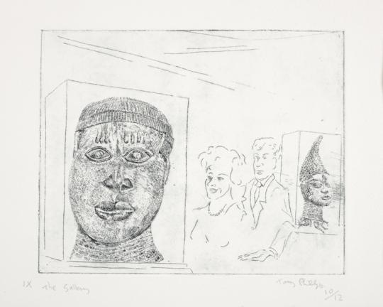 This is a black and white image. A White man and woman are looking at an ornate sculpture of an African person's head which is in a glass case. The head is facing the viewer and wears a cap with tassels hanging across its forehead. Behind the couple is another sculpture of an African person's head in a glass case. It is wearing a high conical hat that points forward at the top