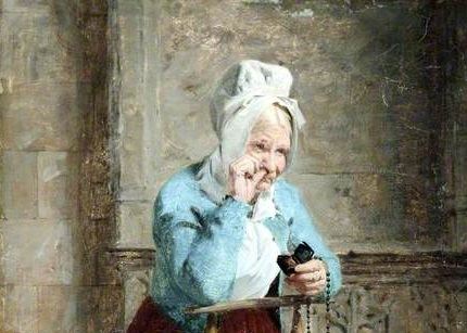 James Hayllar: Pleasure with Devotion, 1882 (Detail - Courtesy of The Atkinson, Southport). The painting (of which just a detail is shown) has an elderly lady wearing a white shirt with light blue jacket over it and a white bonnet putting in pinch of snuff in her nose with one hand while holding a snuff box in the other. She is leaning on the back of a chair.