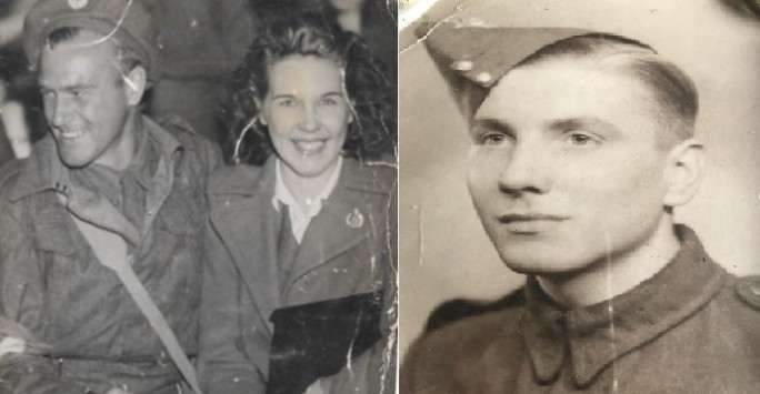 On the left a black and white photograph of Maurice Green and his wife Doris. Maurice is in his army uniform they are sat down together, his kit bag across his lap. They are both smiling happy to be reunited. On the right a black and white photograph of William Dickinson Davies sat in profile. He is wearing his army uniform and hat.
