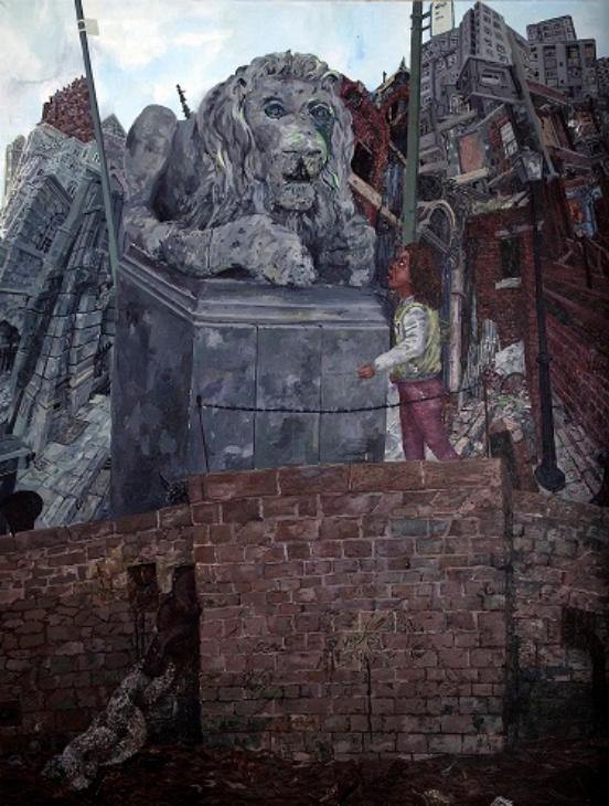 This is the enlarged version of the image above. Either side of the lion are the upright posts of bus stops.  Behind the lion, to the left are historic buildings and to the right are high-rise tower blocks, all seem to be heaped on top of one another. Beneath the lion and the girl is a red brick wall and beneath that dirty water of a river; a thick chain comes out of the wall.