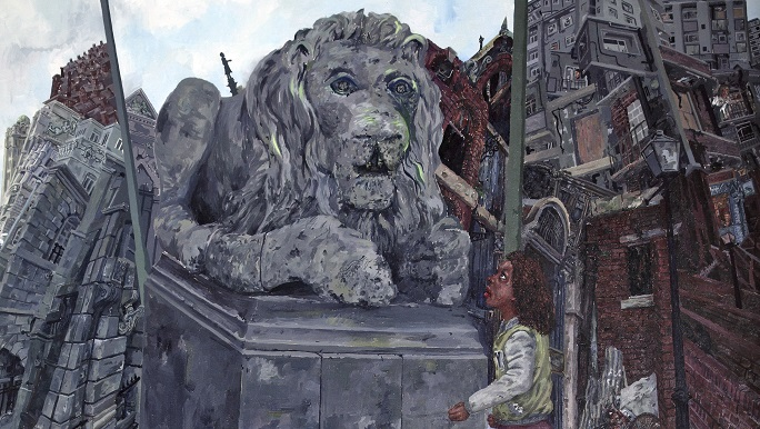 A young girl with brown skin and dark brown shoulder-length curly hair looks up at a stone sculpture of a lion lying on a plinth with its head raised and its paws near the girl's head. The girl wears a jacket of pale greeny-yellow with white sleeves.  Behind them are buildings jumbled upwards.  This is a detail of the picture below.