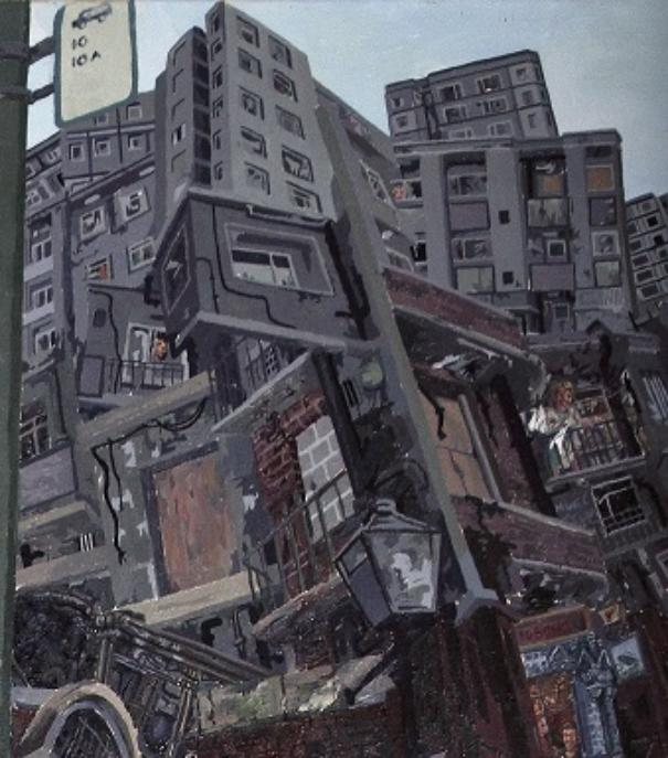 This is a detail from the top right corner of the  main painting. It shows red brick buildings in ruins at the bottom and above that are modern high-rise flats all in a jumble.