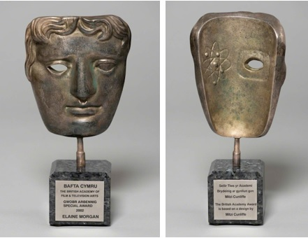 BAFTA awarded to Elaine Morgan (1920 - 2013) TV writer & anthropologist in 2002. (Image used with kind permission of Pontypridd Museum, Estate of the Artist & BAFTA)
