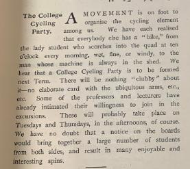 A student magazine except from 1897 shows that equality amongst the male and female students sharing pastimes that had been strictly for men.