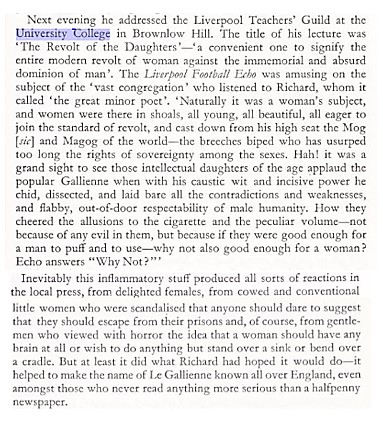 An extract derailing Le Gallienne's lecture at University College Liverpool, showing that attitudes towards the 'New Woman' were very mixed.*