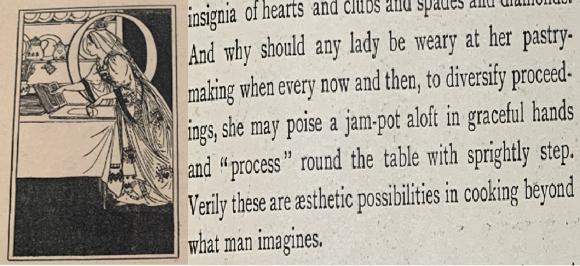 Left - Anning Bell's representation of the Queen of Hearts making her pies in the student magazine, 1895. Right – an extract from the performance review echoes the pie epitaph from 1894.