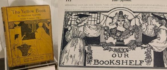 Left – The Yellow book, on display in 'A New Beauty' exhibition. Right - Anning Bell's illustrated heading designs for The Sphinx Student Magazine, 1895, ironically portraying female students dusting the college bookshelves.