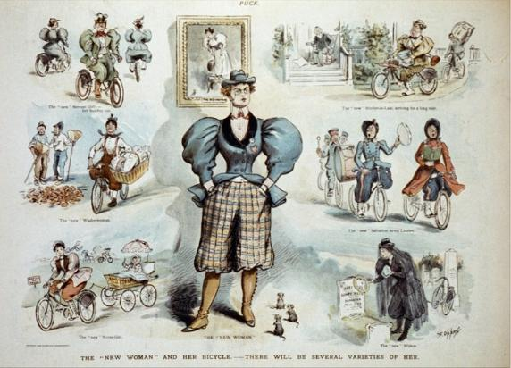 'The New Woman and Her Bicycle' from 1895 edition of Puck Magazine