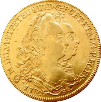 Portuguese gold Peca coin minted in Portugal in 1780. One side features the twin profiles of Dona Maria I, the first Queen of Portugal, and her husband Pedro III