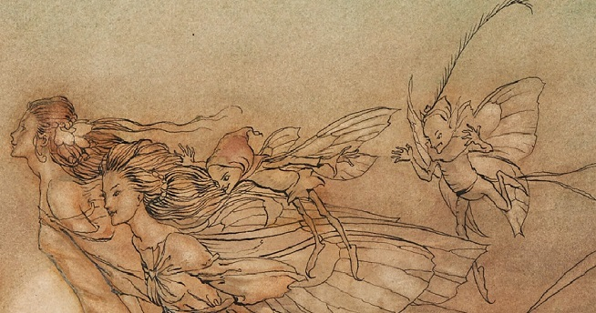 Two adult fairies are shown from the waist up plus two boy fairies follow. They fly towards the left.