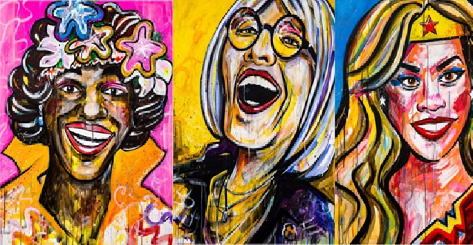 Sophie Green's Sheroe artwork including Marsha P Johnson, Kate Bornstein and Laverne Cox