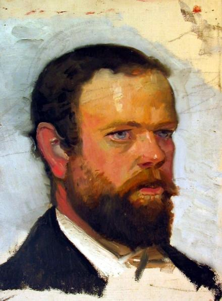 Unfinished portrait of Adrian Scott Stokes, 1888 by Michael Ancher (oil on canvas). Creative Commons licence.