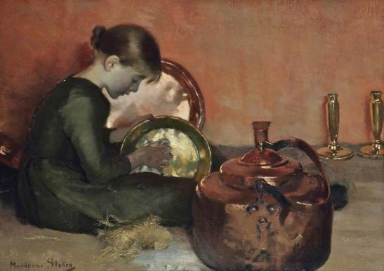 Polishing Pans by Marianne Stokes, c.1887 (oil on canvas). Collection of Walker Art Gallery, National Museums Liverpool