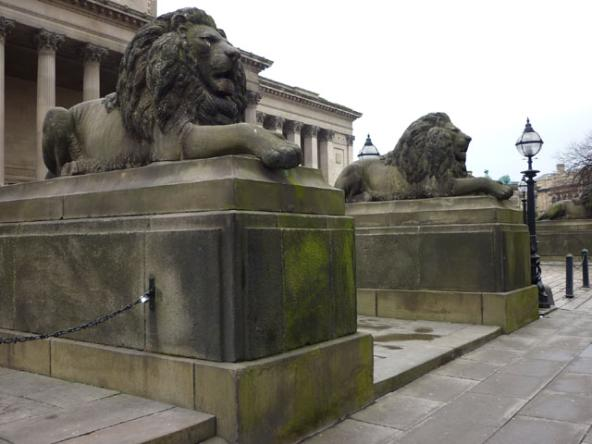 A photo of two grey stone male lions lying prone on plinths. The one nearest is turned slightly towards the viewer and the one further away is side on. In the background are the pillars of St George's Hall. On the right is a black lamp-post with globe light at the top. There is a pavement running up in a diagonal cross the bottom right corner of the photo with two black bollards near the lamp-post