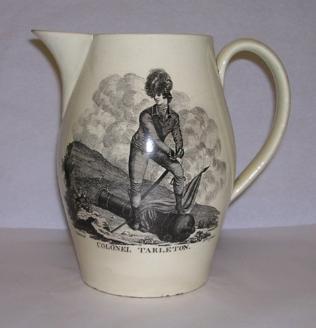 Tarleton jug, c.1783 depicting Tarleton in full naval regalia looking out to sea.
